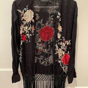 Zara embroidered flower kimono